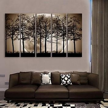 E-HOME® Stretched Canvas Art The Night Under The Shadows of The Trees Decoration Painting  Set of  5