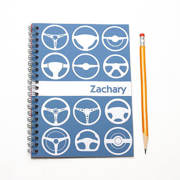 Personalized calendar for a car enthusiast, Custom planner, Car Log, Car Guy Agenda, Husband Dad Gift Idea, Steering Wheel, SKU: pl sw wht
