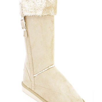 Beige Faux Fur Cuffed Casual Boots Faux Suede