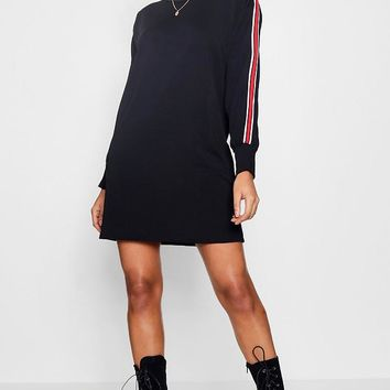 Lea Sports Stripe Sweat Dress | Boohoo