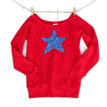 Sequin Star Sweatshirt Jumper - I Love America