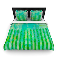 "Ebi Emporium ""Fancy This"" Green Teal Woven Duvet Cover"