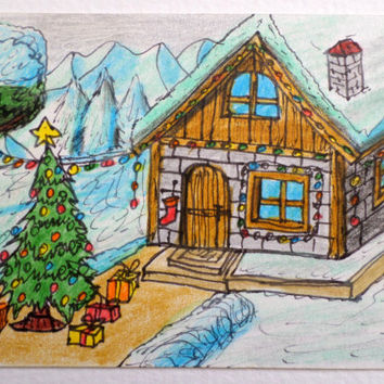 Merry Christmas original art aceo drawing, winter cottage house and a christmas tree aceo card