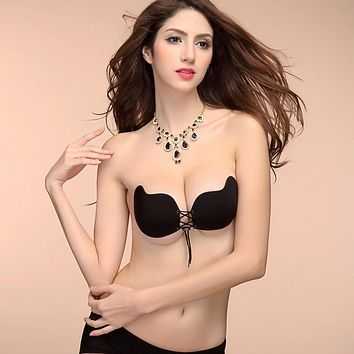 Sexy Push Up Seamless Bra Adhesive Silicone Backless Wedding Strapless Invisible Women Underwear 2 Colors