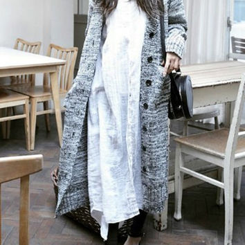 Light Gray Double Pocket V-Neck Long Sleeve Cardigan