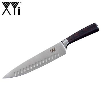 XYj Kitchen Cooking Knife Tool 8 inch Stainless Steel Chef Knife 7Cr17 Frozen Meat Cutter Color Wood Handle Groove Design Blade