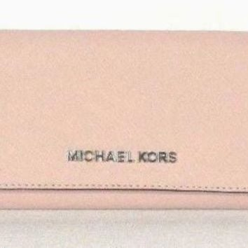 New Michael Kors Jet Set Travel Carryall Flap wallet Saffiano Leather Ballet