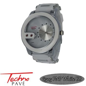 Techno Pave Watch Contemporary Silver White