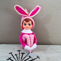 Vintage Kneehugger Kneehugger Elf Easter Bunny Kneehugger Elf Vintage Pixie Made in Japan Pink Kneehugger Elf Elf on the Shelf Easter
