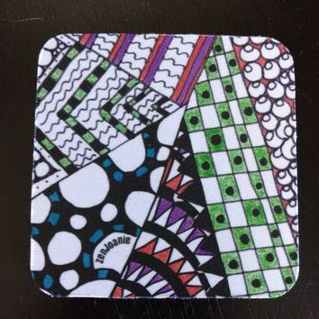 "Zentangle Coasters - Fun Drinking Coasters - Set of Artistic Coasters hand drawn by ZenJoanie - ""Angles"""