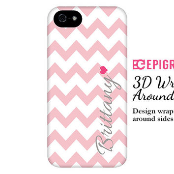 Pink chevron personalized iPhone 6 case, pink iphone 6 plus case, custom iPhone 5c case, iphone 5s case, personalized samsung galaxy s5 case