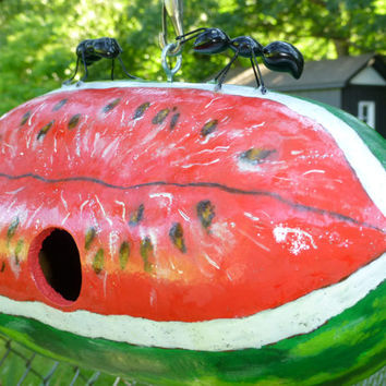 Watermelon Birdhouse Hand Painted Gourd  with an Adorable Pair of Ants CUSTOM ORDER Available Original Designs by Sugarbear