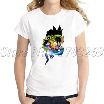 2017 New fashion women customized t-shirt Dragon Ball Z Flight Of The Saiyans short sleeve tops Insane Amount Of Characters tee