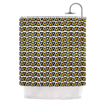 """Pom Graphic Design """"Aztec Triangles Gold"""" Yellow Black Shower Curtain"""