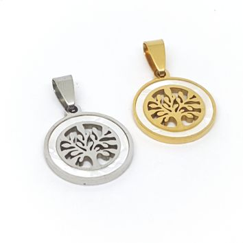 4-2005-h1 Stainless Steel Tree of Life Pendant with Mother of Pearl Accent. 20mm