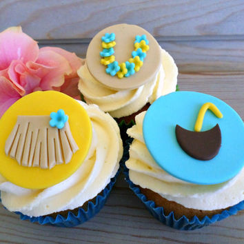 Hawaiian Luau Party Cupcake Edible Fondant Toppers, Beach Summer Aloha Tiki Tropical Birthday Girl Baby Bridal Shower Party Decor -set 12