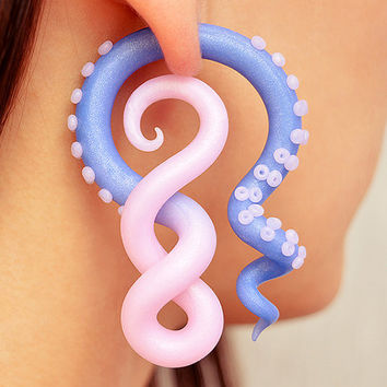 Tentacle Earrings, Rose Quartz and Serenity, Ear Plugs and Fake Plugs, Octopus Fake Gauge Earrings, Octopus Ear Gauges of Polymer Clay