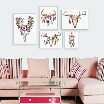 Modern Vintage Retro Animal Deer Head Skull Feather Art Prints Posters Dream Catcher Printed Oil Painting Wall Picture Canvas Pa