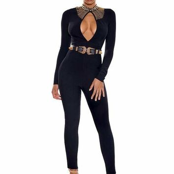 Black Long Sleeve Beaded Bandage Jumpsuit