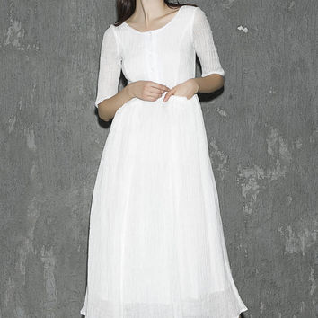 White linen dress maxi dress women dress long prom dress(1310)