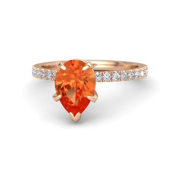Pear Fire Opal 14K Rose Gold Ring with Diamond