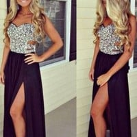 Sexy Prom Dress with Slit Graduation Party Dresses BPD0013