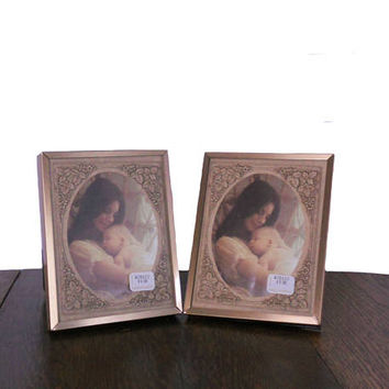 Vintage Photo Frame 1970s Home Decor Small Frame with Floral Matboards Kick Stand or Hooks for Wall Hanging - Burnes of Boston New Old Stock