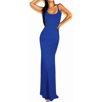 Nice-forever Solid Fit and Flare Sexy women summer Dress Spaghetti Strap Sleeveless Backless Long Club wear maxi dresses 114