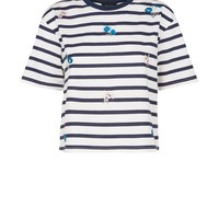 White Stripe Floral Embroidered T-Shirt | New Look