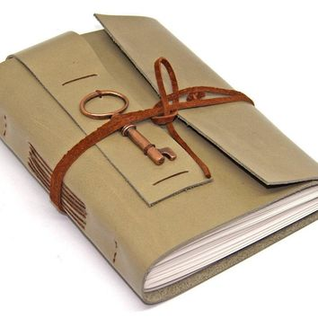 Light Sage Green Leather Journal with Blank Paper - Key Charm - Diary - Handmade - Sketchbook - Wedding - Gift - Ready to Ship - Travel -
