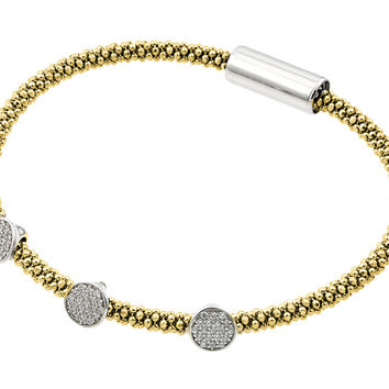 .925 Sterling Silver Rhodium &  Gold Plated 3 Circle Clear Cubic Zirconia Italian Bracelet: SOD