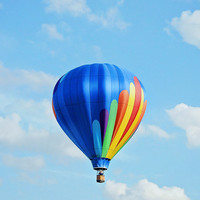 Hot Air Balloon Photography - Stunning Blue Sky Nature Photo - Clouds Fine Art Print Photograph - Whimsical Fun Colorful Decor - Happy Art