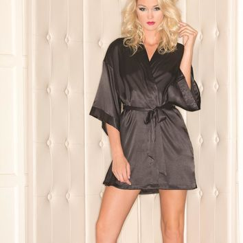 Bewicked Female Plus Size 1 Piece Satin Robe With 3/4 Sleeves BW1525BK_Plus