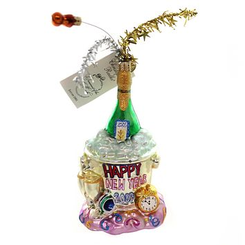 Christopher Radko NEW YEARS BLOWOUT Glass Dated 2003 Champagne 0300010