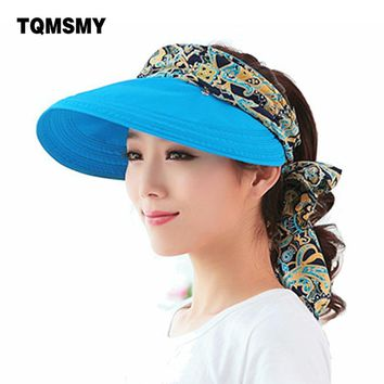 Fashion uv sun hat summer sun hats for women straw hat girls beach organza cap visors caps multipurpose foldable floppy hat