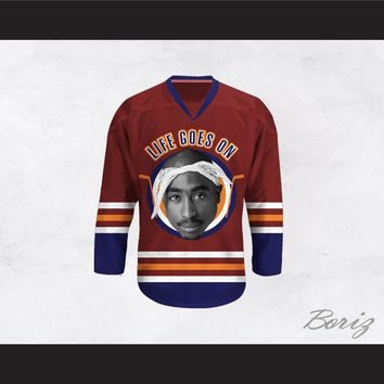 Tupac Shakur 6 Life Goes On Maroon Hockey Jersey