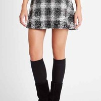 Plaid Tweed A-Line Skirt