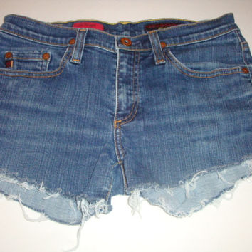 AG Adriano Goldschmied jeans ANGEL denim shorts  frayed hem Cut off  cutoffs size 28