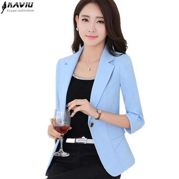 Fashion elegant autumn spring slim work wear women formal half sleeve sky blue blazers coats OL female office plus size jacket