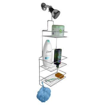 Evelots® Chrome 3 Tier Hanging Shower Caddy, Bathroom & Bath Tub Storage, Silver