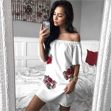 Off Shoulder Short Sleeve Flower Embroidery Pagoda Sleeve Loose Mini Dress