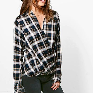 Molly Checked Wrapover Shirt
