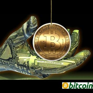 PERSONALIZED Bitcoin Ornament Cryptocurrency Porcelain Christmas Ornaments Gifts Suncatcher Large Orders