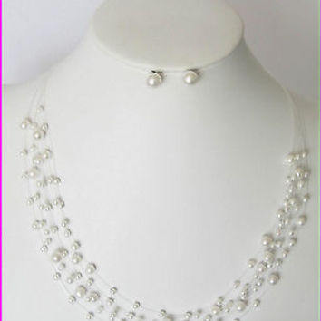 iIlusion Pearl Bridal Bridesmaid Necklace Earring Set- White