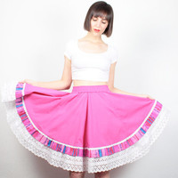 Vintage Pink Circle Skirt Midi Skirt Bright Full Sweep Skirt High Waisted Skirt Eyelet Lace Trim Square Dancing Skirt Western XS S Small M