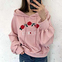 GUCCI Fashion Embroidery Rose Flower Top Sweater Sweatshirt Hoodie