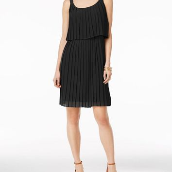 NY Collection Women's Sleeveless Black Solid Pleated Popover A-Line Dress M