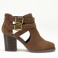 Buckle Up Ankle Boot In Dark Brown