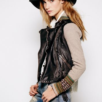 Free People Vegan Leather Motorcycle Sweater Jacket