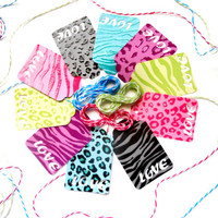 40 Glossy Safari LOVE Punched Gift Tags w/12ft of Twine - Zebra Print, Animal Print - Gift Tags, Bachelorette Tags, Birthday Tags, Love Tags